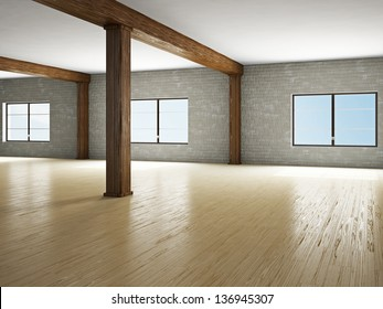 Empty hall with wooden column and windows