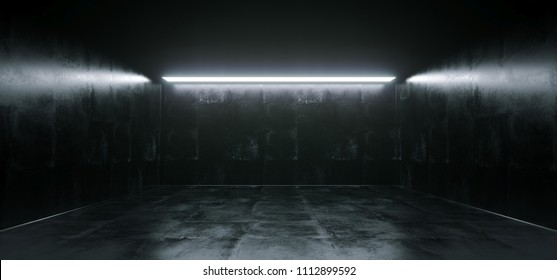 Empty High Detailed Concrete Grunge Looking Room With Light Stripes And Reflections.3D Rendering Illustration