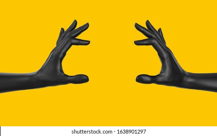 Empty holding food like a burger black two hand gesture concept. hand measuring isolated on yellow. 3d rendering.