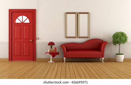 Empty home entrance with classic door and red fashion couch - 3d rendering