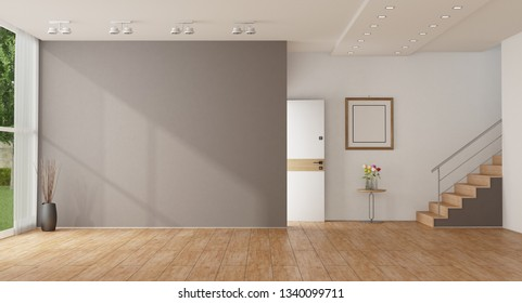 Empty home entrance of a modern villa with open door and wooden starcase 3d rendering