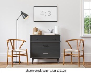 Empty horizontal frame 4:3 on white wall in scandinavian interior with wood floor, black dresser, biege rug, two armchairs, lamp and decor. 3d rendering.