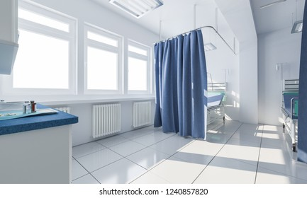 Empty Hospital Room in Daylight 3d rendering