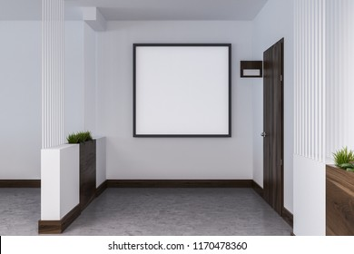 Empty hotel or business center corridor with closed wooden doors, white walls and a concrete floor. Square poster frame. 3d rendering mock up