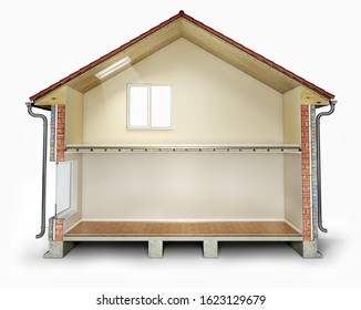Empty house cross section, 3d illustration