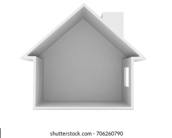 Empty house cross section isolated on white background. 3d illustration