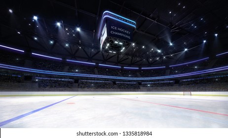 empty ice hockey arena indoor playground view illuminated by spotlights, hockey and skating stadium indoor 3D render illustration background, my own design