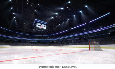 empty ice hockey arena inside playground view illuminated by spotlights, hockey and skating stadium indoor 3D render illustration background, my own design