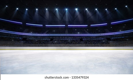 empty ice rink arena indoor view illuminated by spotlights, hockey and skating stadium indoor 3D render illustration background, my own design