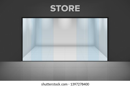 Empty illuminated store. Realistic exterior. Shop with glass showcase. View from the outside. illustration