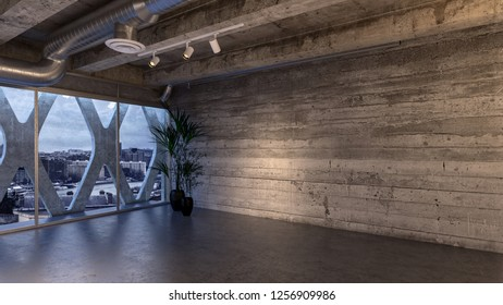 An empty industrial styled penthouse room and wall with city views. 3d Rendering