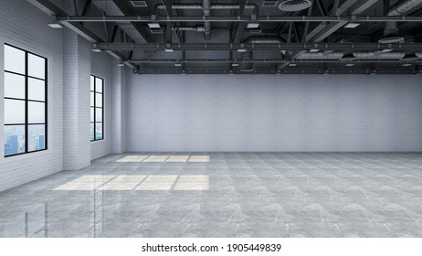 Empty industrial warehouse interior, photorealistic 3D Illustration of the interior, suitable for using as a backdrop in photo manipulations.