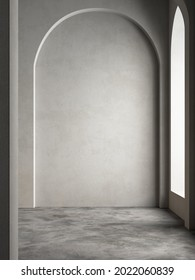 Empty interior with arcs and blank wall. 3d render illustration mockup.