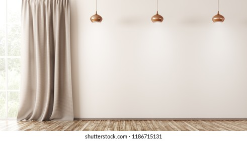 Empty interior background, living room with beige wall, three lamps and window with curtain 3d rendering