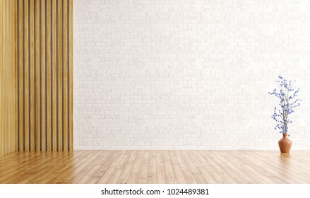 Empty interior background, room with brick wall, wood paneling and vase with flower branch 3d rendering