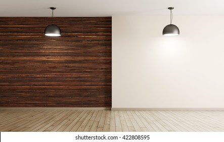 Empty interior background, room with brown wood paneling wall and hardwood flooring, two lamps 3d rendering
