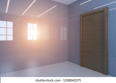 Empty interior of blue bathroom with glossy walls. Brown door.. Sunset. 3D rendering