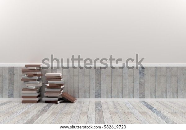 Empty interior brown pastel room with wooden floor and books, For display of your products.  - 3D render image.