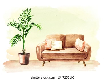 Empty interior design with copy space. Sofa and potted plant. Watercolor hand drawn illustration, isolated on white background