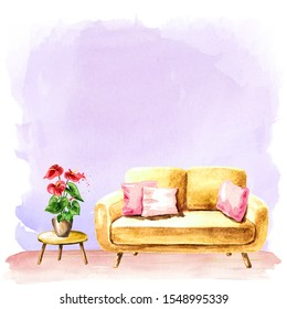 Empty interior design with copy space. Sofa, potted plant, coffee table. Watercolor hand drawn illustration, isolated on white background