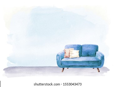 Empty interior design with copy space. Sofa and lamp, blank wall. Watercolor hand drawn illustration, isolated on white background