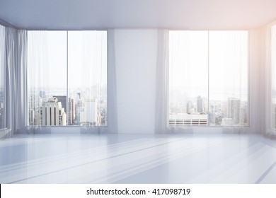 Empty interior design with curtains, windows and New York city view. 3D Rendering