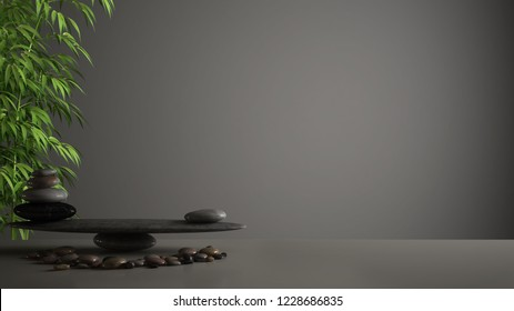 Empty interior design feng shui concept zen idea, white table or shelf with pebble balance and green bamboo, over dark gray background copy space, 3d illustration