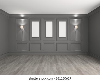 Empty interior with frames for paintings 3d rendering