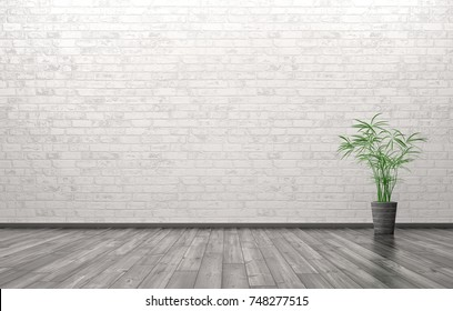 Empty interior of living room with plant over brick wall background 3d rendering