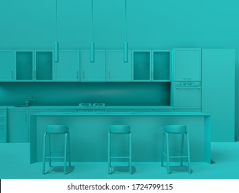 Empty interior in one color blue, kitchen with island, 3d illustration