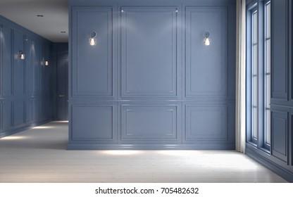 Empty interior pastel periwinkle, classic style, 3D render 3D illustration