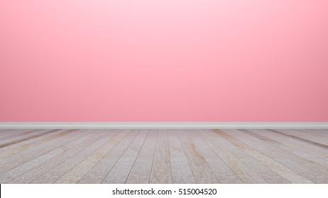 Empty Interior Pink Room Wooden Floor Stock Illustration 417654454