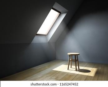Empty interior room with mansard window. 3D illustration.