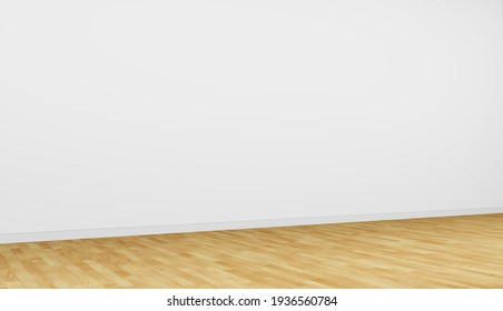 Empty interior, simple room. White wall with wooden parquet floor. Angle view. 3d rendering