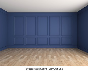 Empty interior with stucco decoration 3d rendering