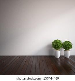 empty interior with vases