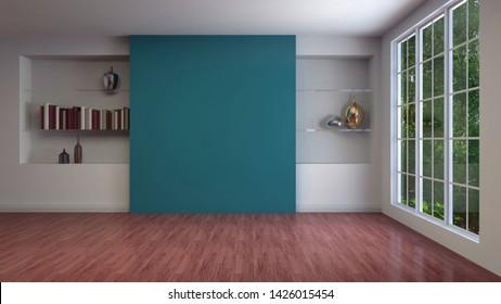 Interior vacío con ventana. Ilustración 3d.
