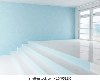empty interior with a window and a stairs