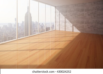 Empty interior with wooden floor, brick wall and New York city view. 3D Rendering