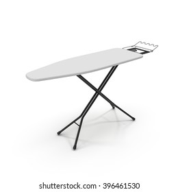 Empty ironing board isolated on white.