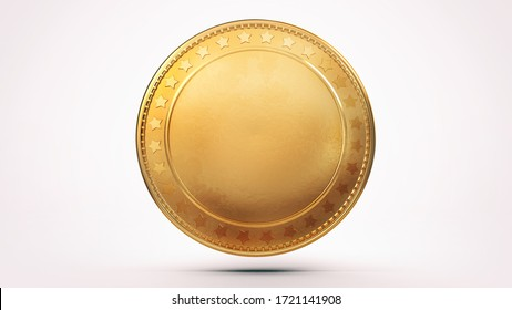 Empty isolated golden shiny coin on white background. Blank money template 3D illustration.