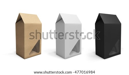 Empty kraft paper pack with window. 3D