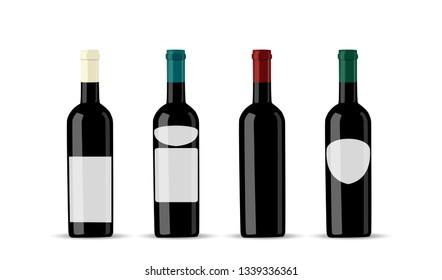 Empty label for packaging design. Dark bottle set template.