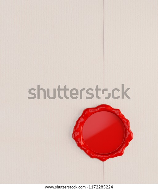 Empty Letter with Red Wax Seal. 3D illustration
