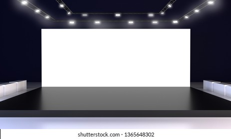 Empty light cinema screen. Exhibition stand. Stage mock up. 3D Rendering