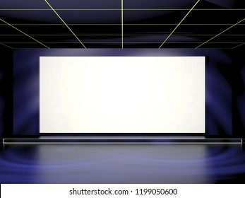 Empty light cinema screen. Stage mock up. 3D Rendering