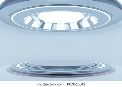 Empty light white studio room futuristic Sci Fi big hall room with lights white, Future background for design,3d rendering