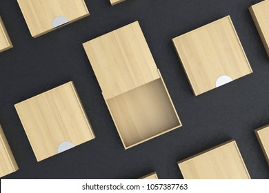 Empty light wooden square box with opened sliding lid with closed boxes around on black background. 3d illustration