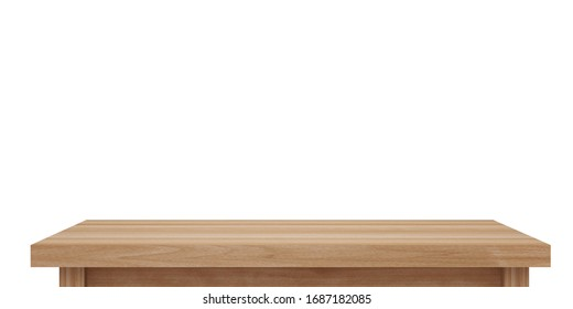 Empty light wooden table top isolated on white background with clipping path, of free space for your copy and branding. Use as products display montage. Vintage style concept  present, 3d illustration