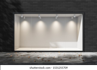 Empty lighted showcase Shop in the daytime. Empty space for advertising. Mock up. 3d rendering
